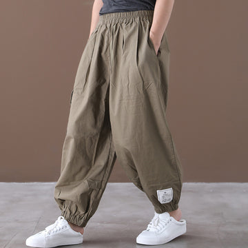 Summer Elastic Waist Pocket Cotton Pants