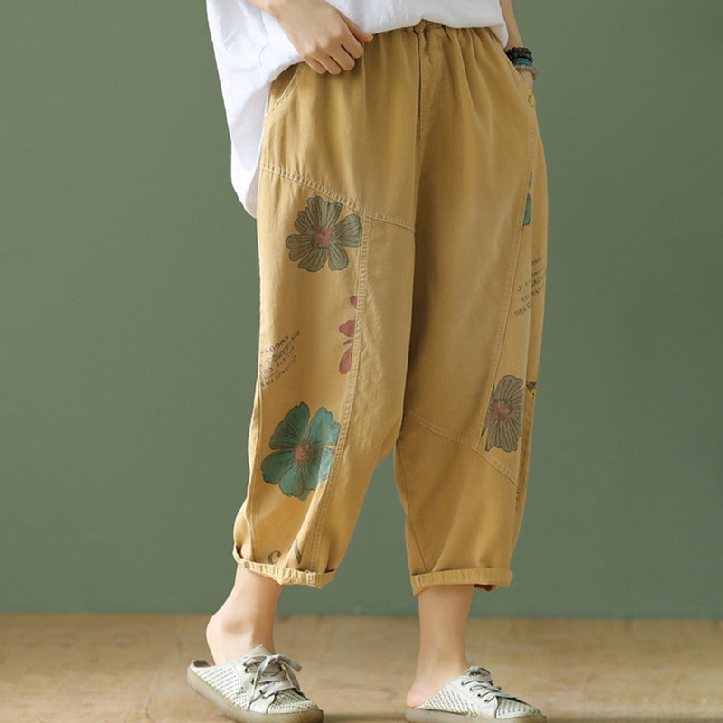 Summer Elastic Waist Women Prints Cropped Pants