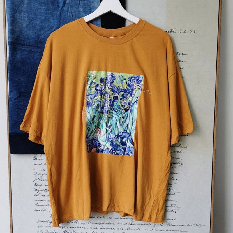 Summer Embroidered Letter Loose Floral Printed T-shirt