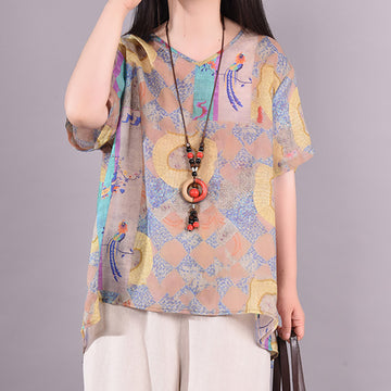 Summer Embroidery Bird Printed Ramie T-shirt