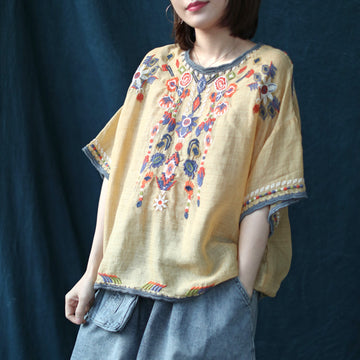 Summer Embroidery Flower Thin Linen T-shirt