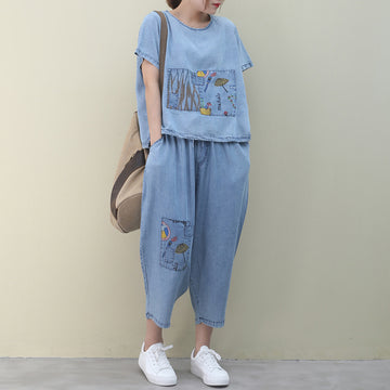 Summer Embroidery Patchwork Denim Two Piece Suit
