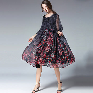 Plus Size - Summer Flare Sleeve Floral Printed Chiffon Dress