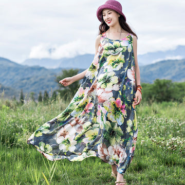 Summer Floral Printed Cotton Maxi Sleeveless Dress