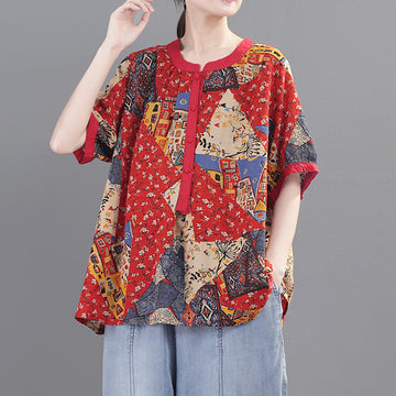 Summer Floral Printed Short Sleeve O-neck Linen T-shirt