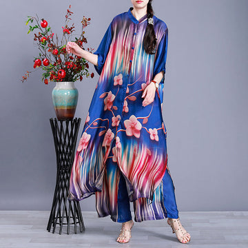 Summer Floral Prints Tencel Two Piece Suit