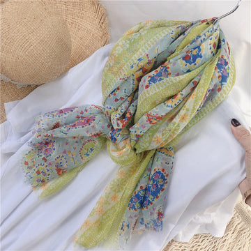 Summer Floral Prints Thin Sunscreen Scarf