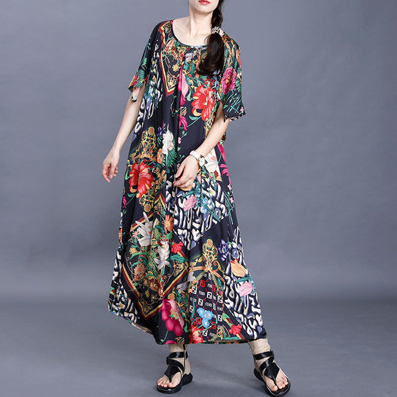 Summer Floral Round Neck Loose Pleated Silk Dress