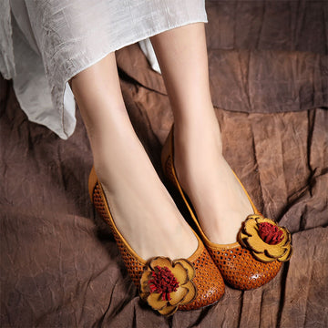 Summer Flower Hollow-out Leather Flats