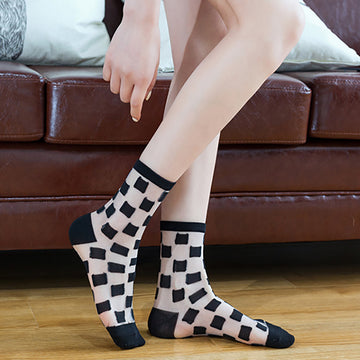 Summer Geometric Jacquard Transparent Women Socks (5 pairs)