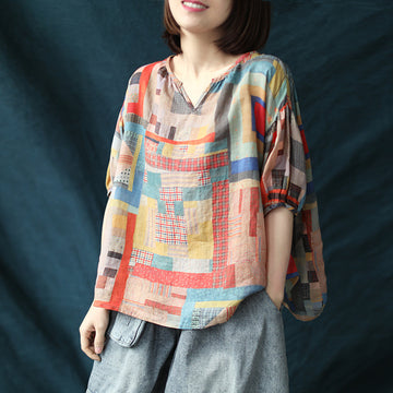 Summer Half Sleeve Colored Geometric Cotton Linen V-neck Blouse