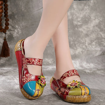 Summer Handmade Flower Leather Splicing Wedge Slippers