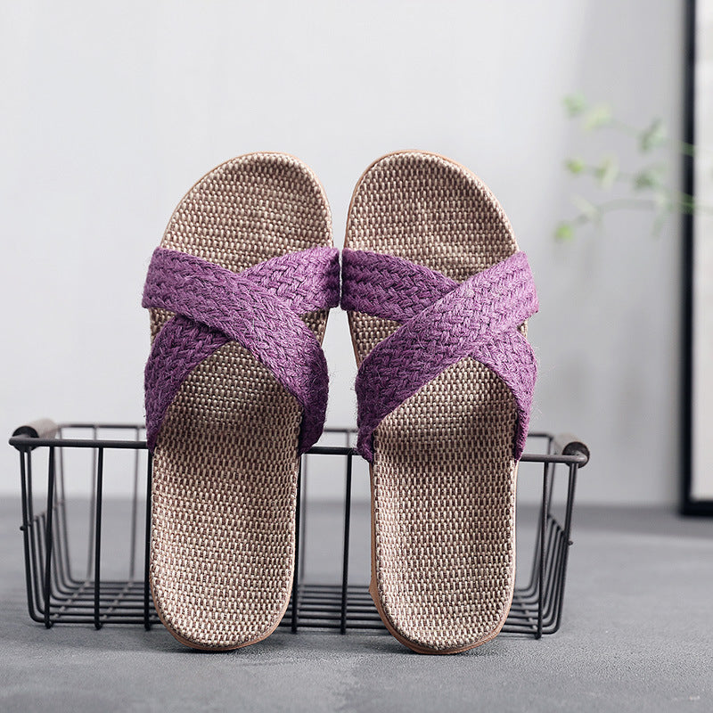 Summer Home Linen Woven Cross Slippers