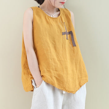 Plus Size - Summer Irregular Hem Patchwork Linen Vest