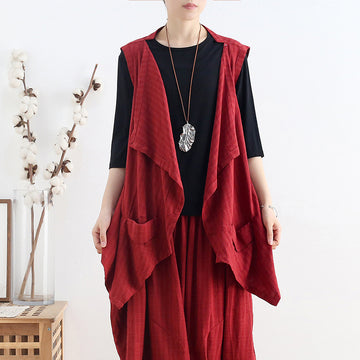 Summer Irregular Solid Color Linen Vest