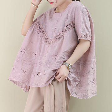 Summer Lace Hollow Out Loose Cotton T-shirt