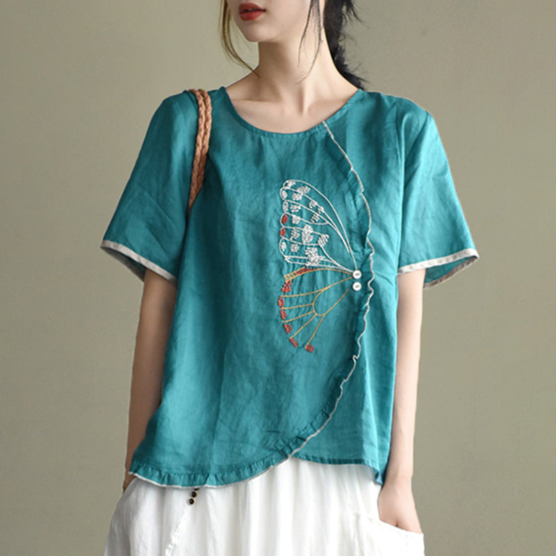 Summer Lace Irregular Embroidery T-shirt