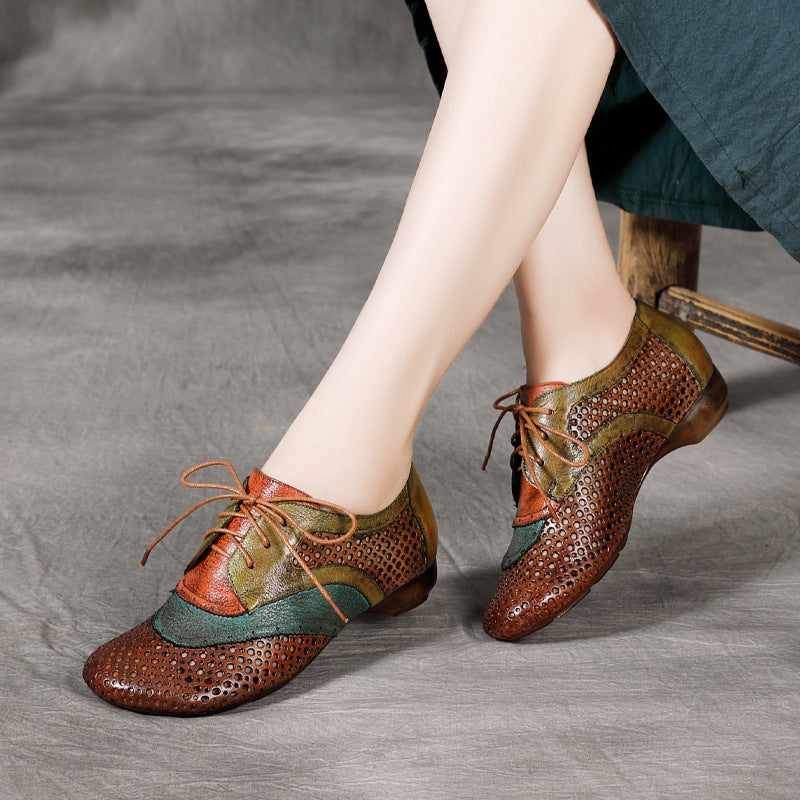 Summer Lacing Hollow Leather Shoes