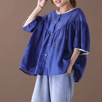 Summer Lantern Sleeve Single Breasted Cotton Blouse