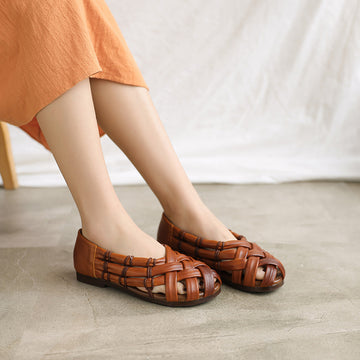 Summer Leather Hand Woven Hollow Out Sandals