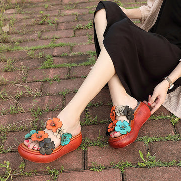 Summer Leather Handmade Flowers Wedge Slippers