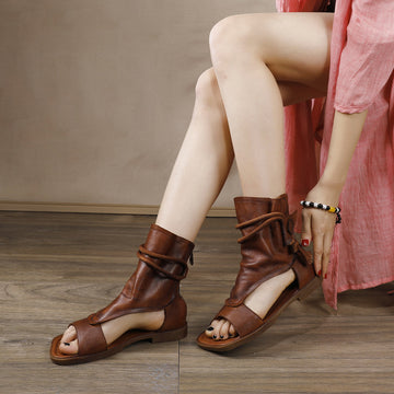 Summer Leather Retro Strap Beach High-top Sandals