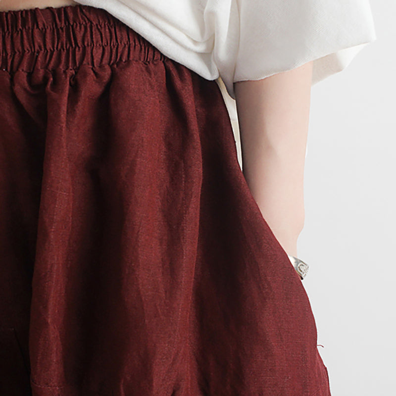 Summer Loose Color Matching Linen Wide Leg Pants
