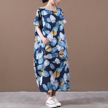 Summer Loose Pocket Geometric Print Dress