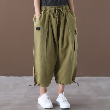 Summer Loose Pure Color Drawstring Cotton Pants