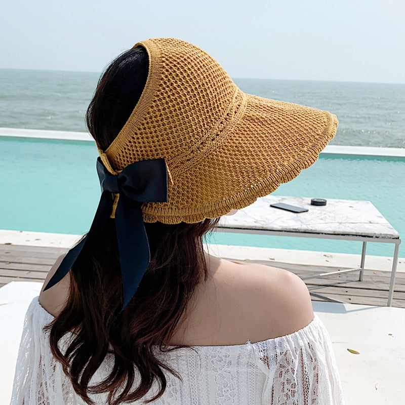Summer Outdoor Pure Color Ribbon Empty Top Straw Hat