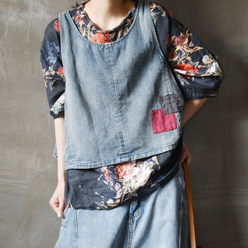 Summer Patchwork Distressed Denim Vest
