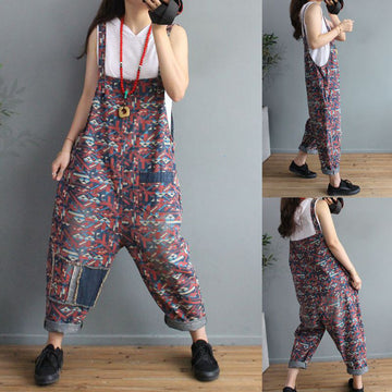 Summer Patchwork Prints Denim Jumpsuit