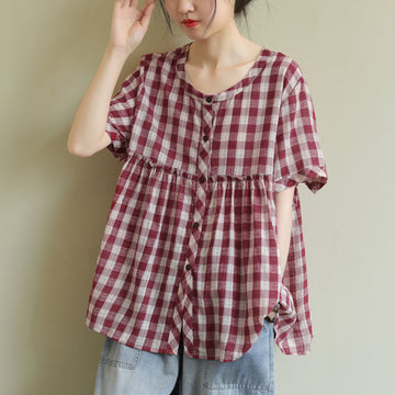 Plus Size - Summer Plaid Thin Loose Cotton Linen T-shirt