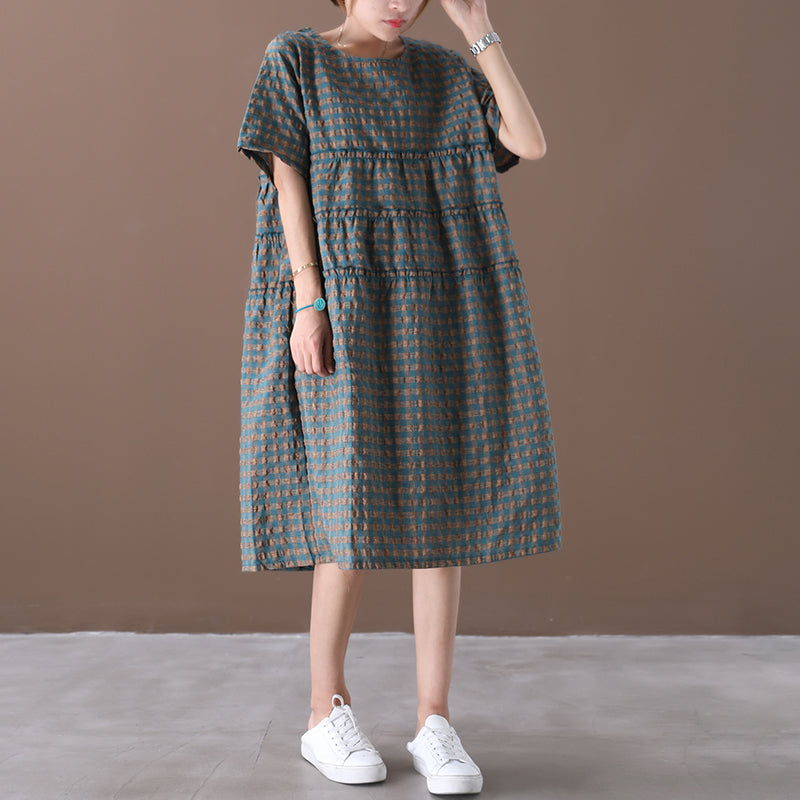 Plus Size - Summer Plaid Round Neck Cotton Linen Midi Dress