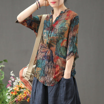 Summer Pleated Printed 3/4 Sleeve Chiffon Blouse