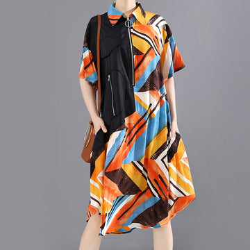 Summer Pocket Zipper Print Spliced Dress
