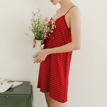 Summer Polka Dot Cotton V-neck Slip Dress