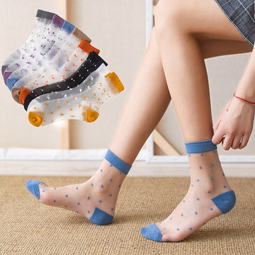 Summer Polka Dot Sheer Women Socks (5 Pairs)