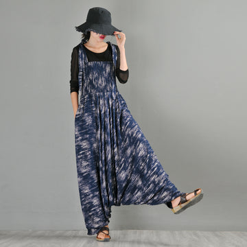 Summer Printed Cotton Baggy Jumpsuit