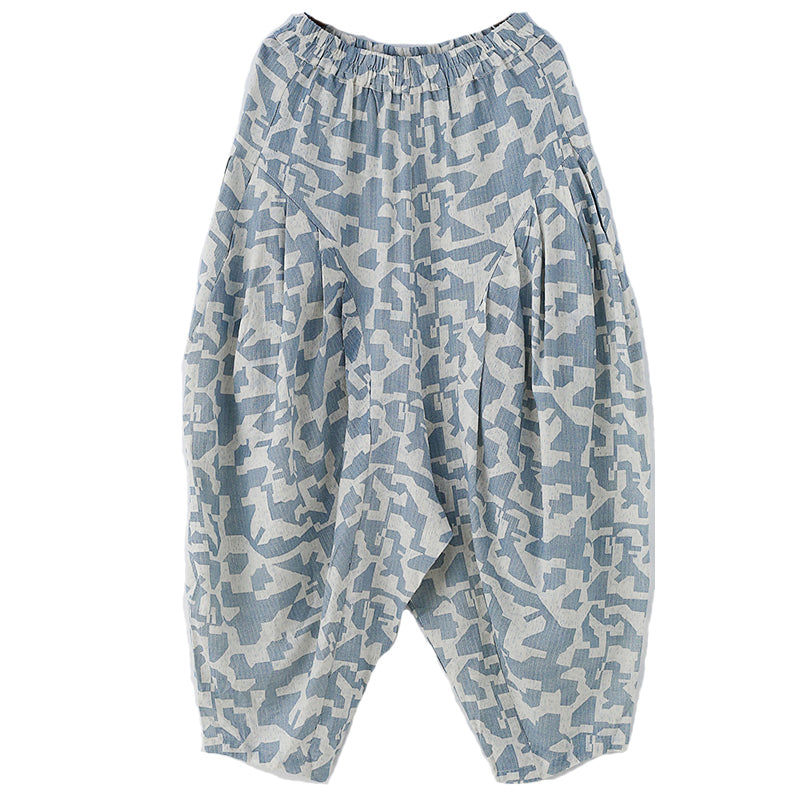 Summer Printed Loose Linen Bloomers