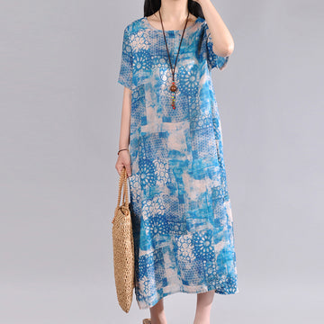 Summer Printed O-neck Short Sleeve Linen Midi Dress
