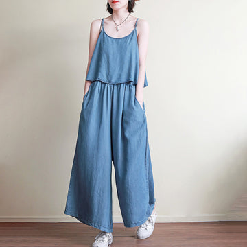 Summer Pure Color Denim Fake Two-piece Jumpsuit