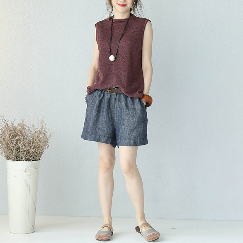 Summer Pure Color Linen Sleeveless Knitted T-shirt