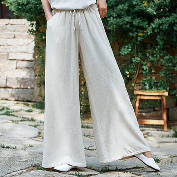 Summer Pure Color Linen Thin Wide Leg Pants