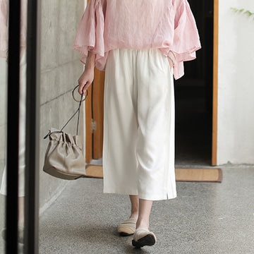 Summer Pure Color Loose Elastic Waist Pants