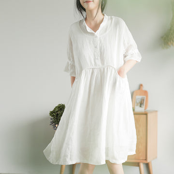 Summer Pure Color Pocket Ramie Dress