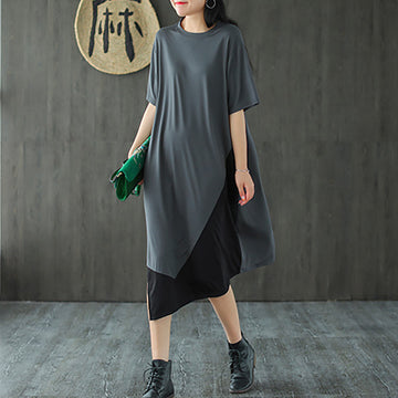 Summer Pure Color Stitching Cotton Dress