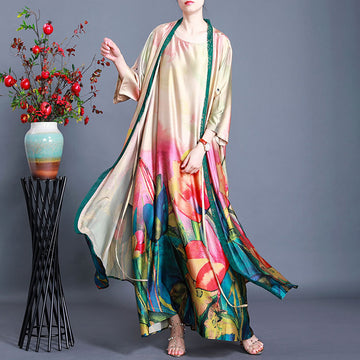 Summer Retro Floral Print Silk Coat And Dress