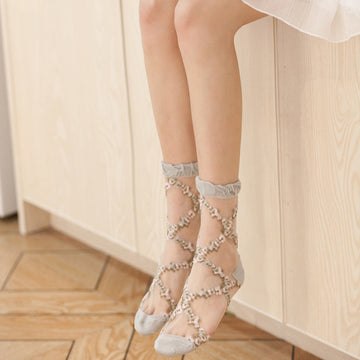 Summer Rhombic Transparent Socks For Women (5 Pairs)