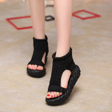 Summer Round Toe Pure Color Knitted Sandals